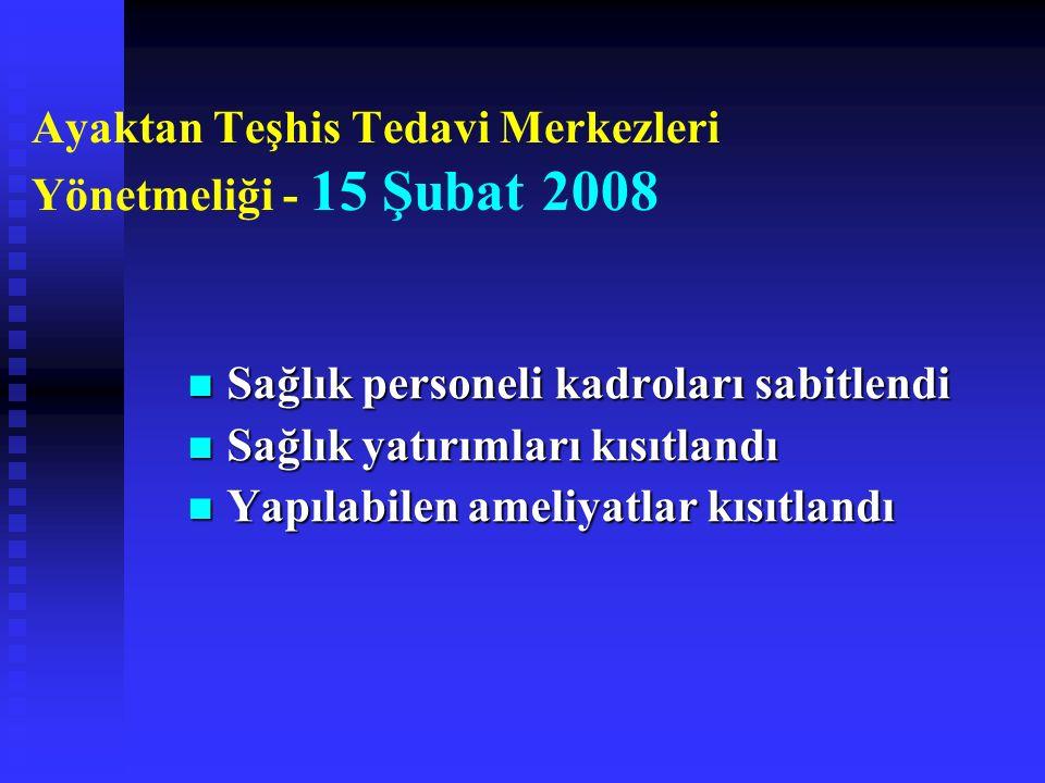 Ayaktan Teşhis Tedavi Merkezleri Yönetmeliği - 15 Şubat 2008 Sağlık personeli kadroları sabitlendi Sağlık personeli kadroları sabitlendi Sağlık yatırımları kısıtlandı Sağlık yatırımları kısıtlandı Yapılabilen ameliyatlar kısıtlandı Yapılabilen ameliyatlar kısıtlandı