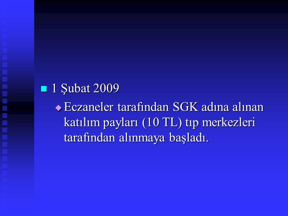 1 Şubat 2009 1 Şubat 2009  Eczaneler tarafından SGK adına alınan katılım payları (10 TL) tıp merkezleri tarafından alınmaya başladı.