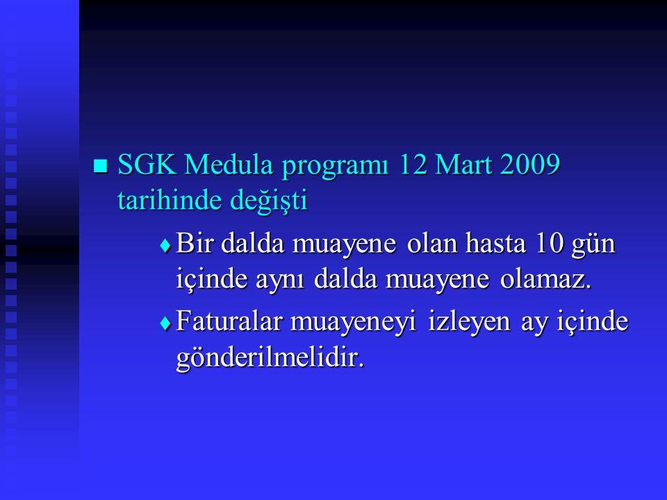 SGK Medula programı 12 Mart 2009 tarihinde değişti SGK Medula programı 12 Mart 2009 tarihinde değişti  Bir dalda muayene olan hasta 10 gün içinde aynı dalda muayene olamaz.