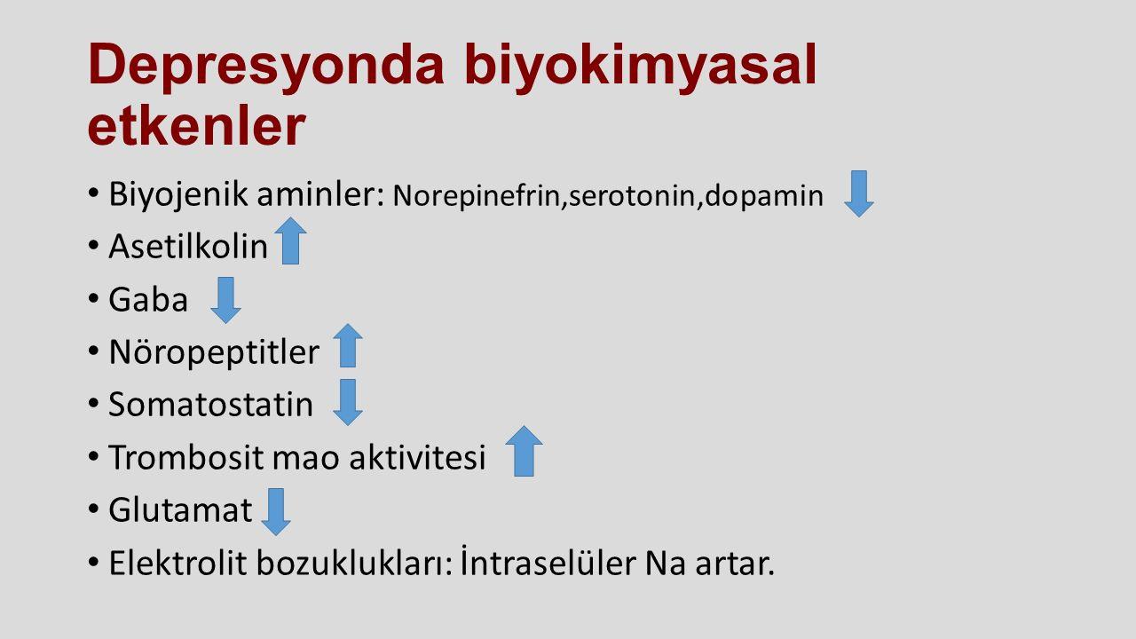 Depresyonda biyokimyasal etkenler Biyojenik aminler: Norepinefrin,serotonin,dopamin Asetilkolin Gaba Nöropeptitler Somatostatin Trombosit mao aktivite