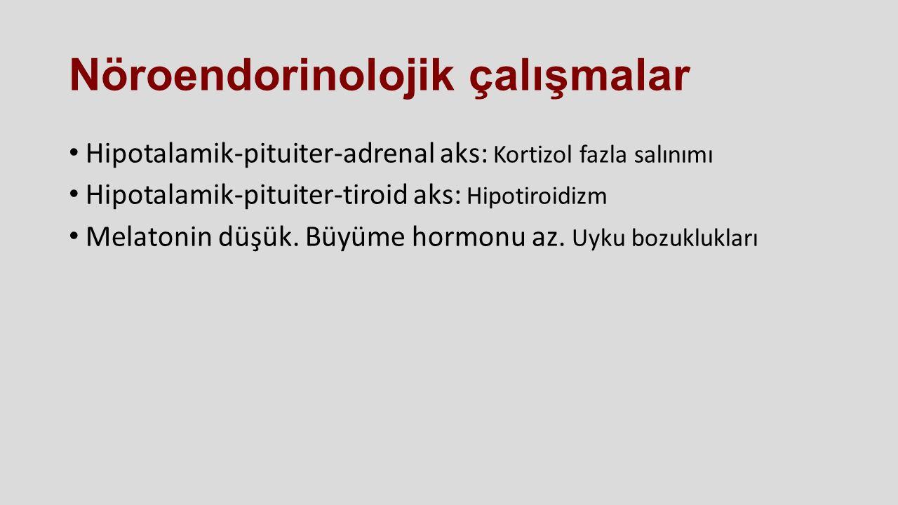 Nöroendorinolojik çalışmalar Hipotalamik-pituiter-adrenal aks: Kortizol fazla salınımı Hipotalamik-pituiter-tiroid aks: Hipotiroidizm Melatonin düşük.