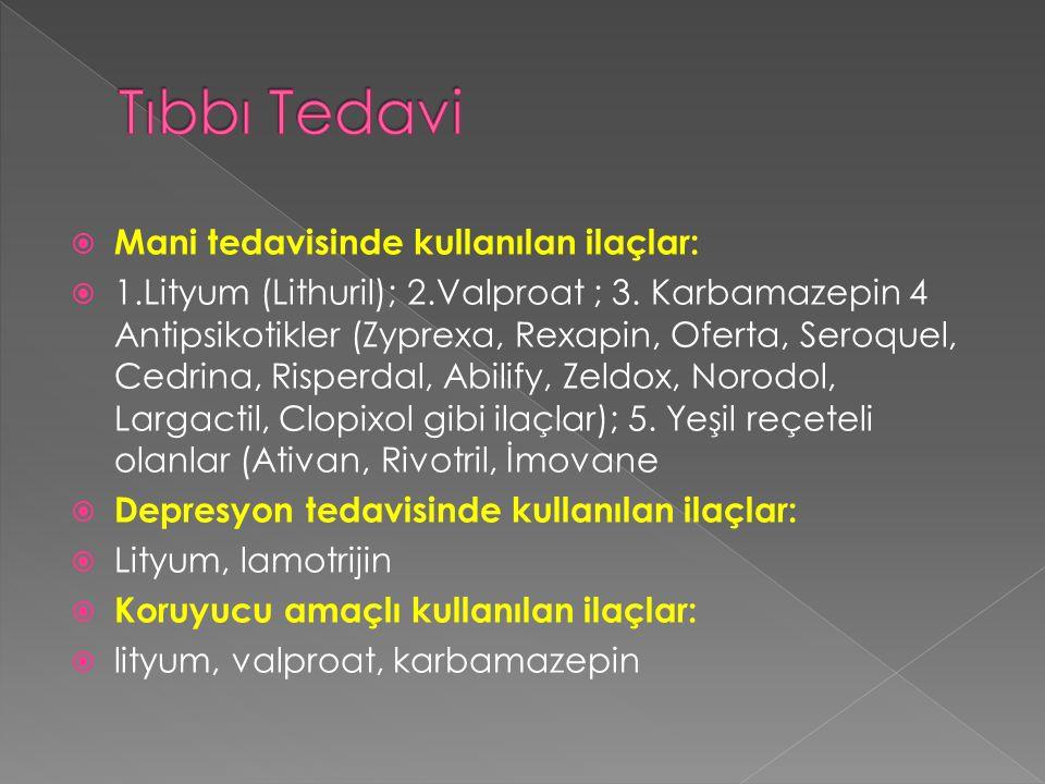  Mani tedavisinde kullanılan ilaçlar:  1.Lityum (Lithuril); 2.Valproat ; 3. Karbamazepin 4 Antipsikotikler (Zyprexa, Rexapin, Oferta, Seroquel, Cedr
