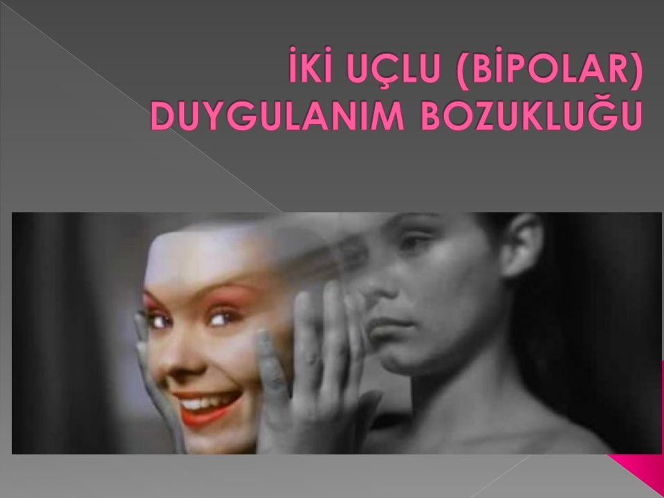  Bipolar bozukluk Nedir  İkiuçlu (bipolar) 1 Bozukluğu  İki uçlu (bipolar) 2 Bozukluğu  Bipolar Bozukluk Kimlerde Görülür  Bipolarda Mani Dönemi belirtileri  Bipolarda Depresyon Belirtiler  Bipolarda Tedavi Yöntemleri