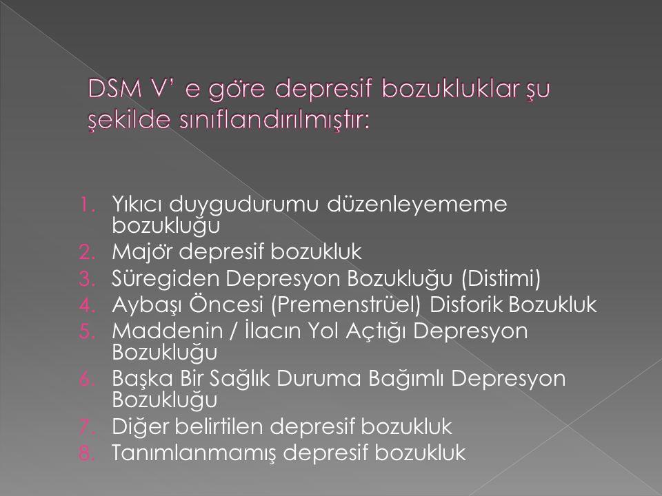 1. Yıkıcı duygudurumu düzenleyememe bozukluğu 2. Majo ̈ r depresif bozukluk 3. Süregiden Depresyon Bozukluğu (Distimi) 4. Aybaşı Öncesi (Premenstrüel)