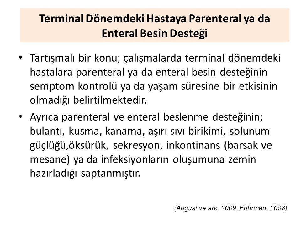 Terminal Dönemdeki Hastaya Parenteral ya da Enteral Besin Desteği Tartışmalı bir konu; çalışmalarda terminal dönemdeki hastalara parenteral ya da enteral besin desteğinin semptom kontrolü ya da yaşam süresine bir etkisinin olmadığı belirtilmektedir.