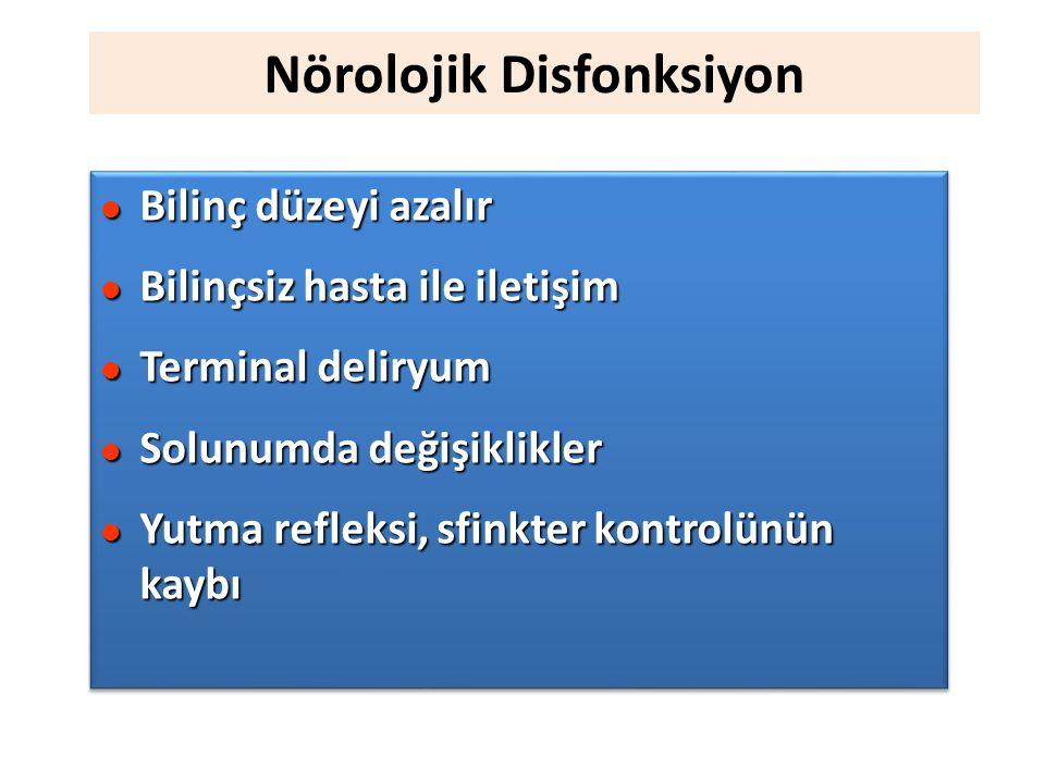 Nörolojik Disfonksiyon l Bilinç düzeyi azalır l Bilinçsiz hasta ile iletişim l Terminal deliryum l Solunumda değişiklikler l Yutma refleksi, sfinkter kontrolünün kaybı l Bilinç düzeyi azalır l Bilinçsiz hasta ile iletişim l Terminal deliryum l Solunumda değişiklikler l Yutma refleksi, sfinkter kontrolünün kaybı