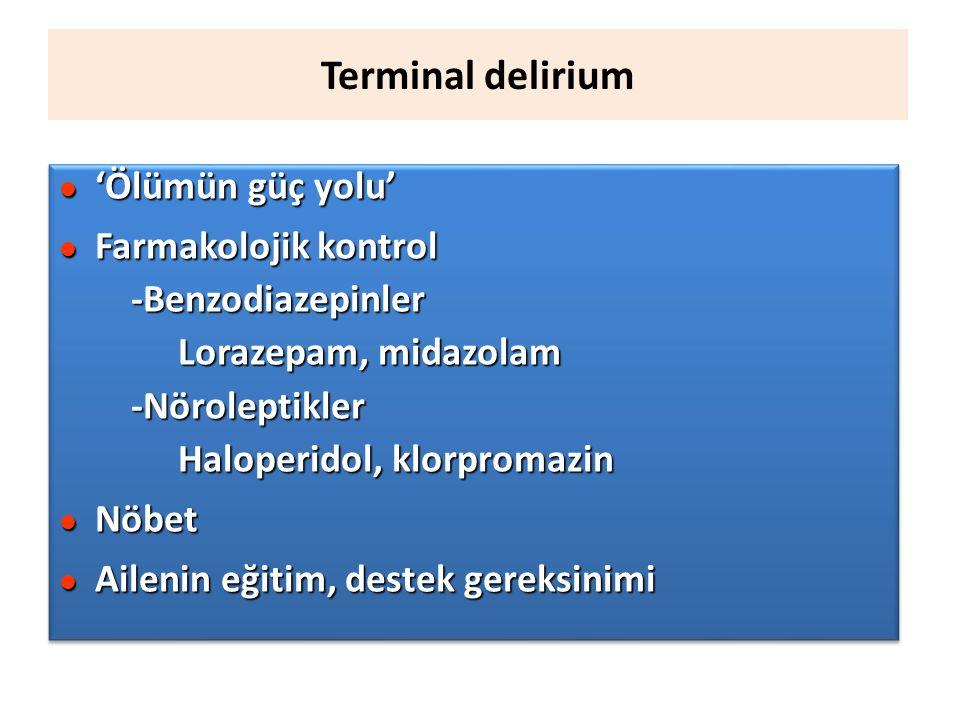 Terminal delirium l 'Ölümün güç yolu' l Farmakolojik kontrol -Benzodiazepinler Lorazepam, midazolam -Nöroleptikler Haloperidol, klorpromazin l Nöbet l Ailenin eğitim, destek gereksinimi l 'Ölümün güç yolu' l Farmakolojik kontrol -Benzodiazepinler Lorazepam, midazolam -Nöroleptikler Haloperidol, klorpromazin l Nöbet l Ailenin eğitim, destek gereksinimi