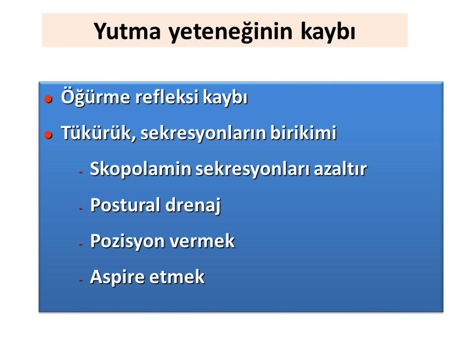 Yutma yeteneğinin kaybı l Öğürme refleksi kaybı l Tükürük, sekresyonların birikimi - Skopolamin sekresyonları azaltır - Postural drenaj - Pozisyon vermek - Aspire etmek l Öğürme refleksi kaybı l Tükürük, sekresyonların birikimi - Skopolamin sekresyonları azaltır - Postural drenaj - Pozisyon vermek - Aspire etmek