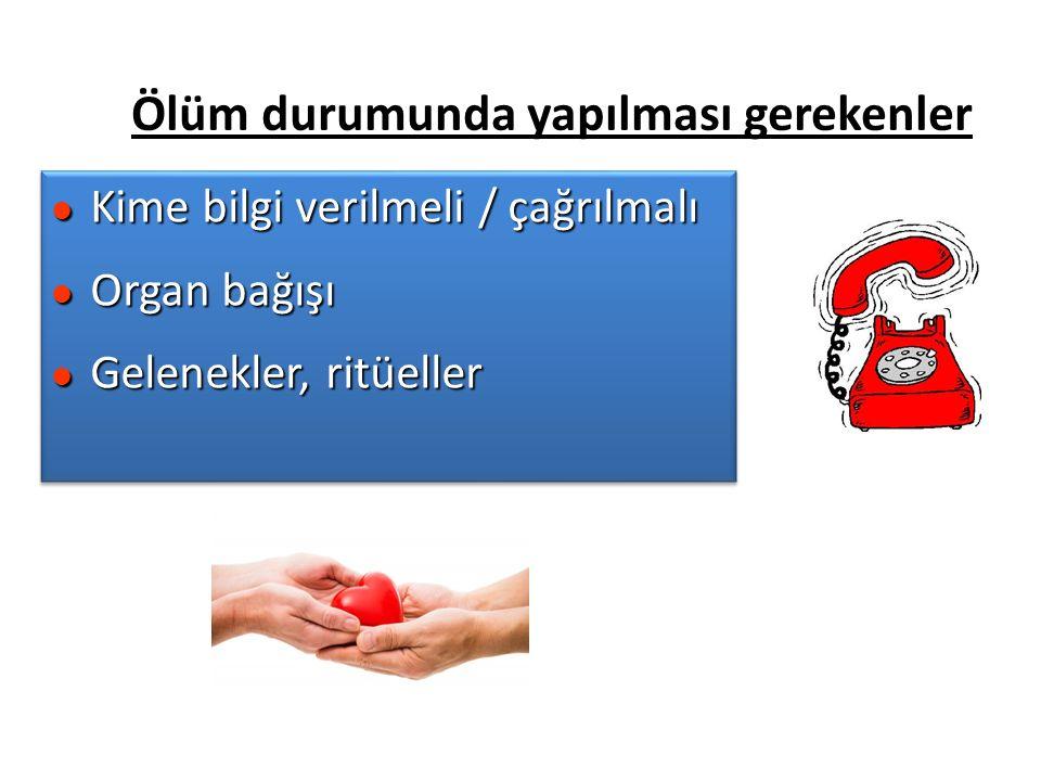 Ölüm durumunda yapılması gerekenler l Kime bilgi verilmeli / çağrılmalı l Organ bağışı l Gelenekler, ritüeller l Kime bilgi verilmeli / çağrılmalı l Organ bağışı l Gelenekler, ritüeller