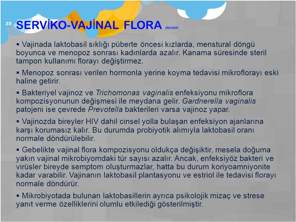 35 SERV İ KO-VAJ İ NAL FLORA devam  Vajinada laktobasil sıklığı püberte öncesi kızlarda, menstural döngü boyunca ve menopoz sonrası kadınlarda azalır.