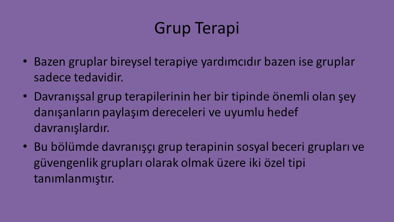 Grup Terapi Bazen gruplar bireysel terapiye yardımcıdır bazen ise gruplar sadece tedavidir. Davranışsal grup terapilerinin her bir tipinde önemli olan