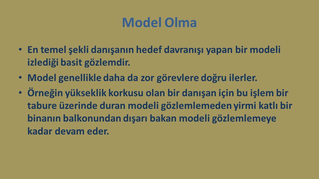 Model Olma En temel şekli danışanın hedef davranışı yapan bir modeli izlediği basit gözlemdir. Model genellikle daha da zor görevlere doğru ilerler. Ö