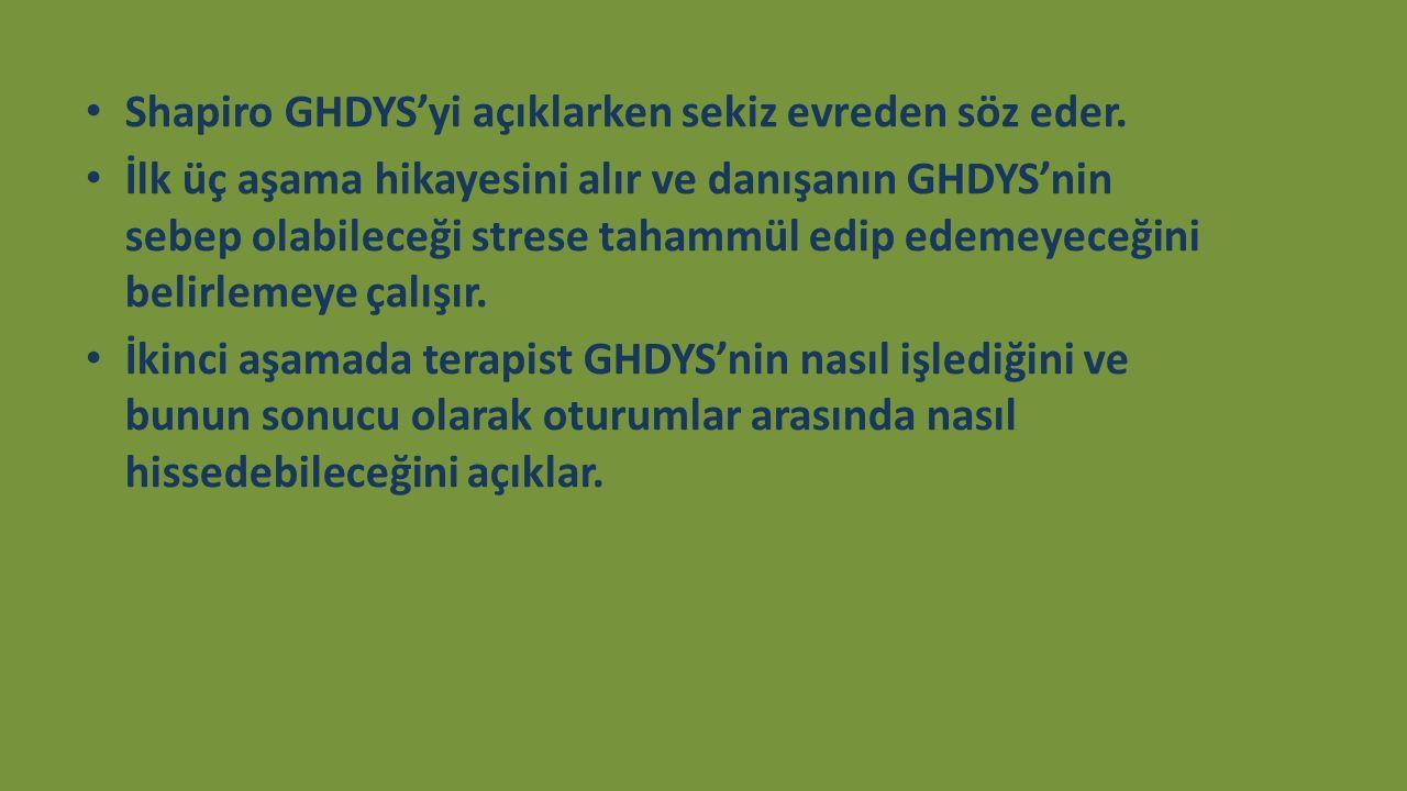 Shapiro GHDYS'yi açıklarken sekiz evreden söz eder. İlk üç aşama hikayesini alır ve danışanın GHDYS'nin sebep olabileceği strese tahammül edip edemeye