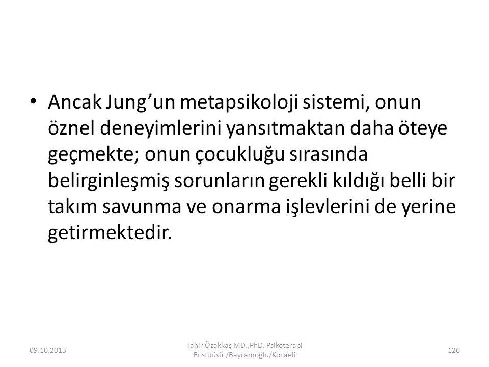 Ancak Jung'un metapsikoloji sistemi, onun öznel deneyimlerini yansıtmaktan daha öteye geçmekte; onun çocukluğu sırasında belirginleşmiş sorunların gerekli kıldığı belli bir takım savunma ve onarma işlevlerini de yerine getirmektedir.