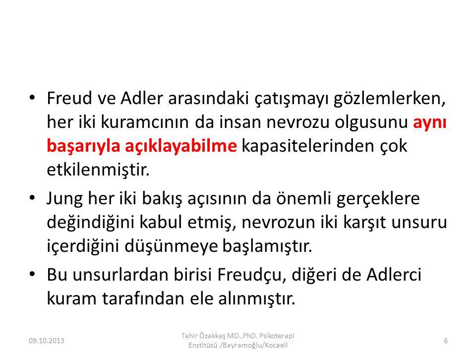 Freud ve Adler arasındaki çatışmayı gözlemlerken, her iki kuramcının da insan nevrozu olgusunu aynı başarıyla açıklayabilme kapasitelerinden çok etkilenmiştir.