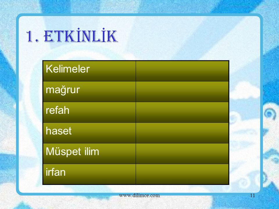 www.dilimce.com11 1. ETK İ NL İ K Kelimeler mağrur refah haset Müspet ilim irfan