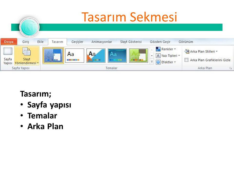 Tasarım Sekmesi Tasarım; Sayfa yapısı Temalar Arka Plan