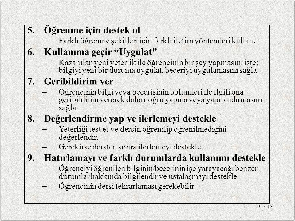 5.Öğrenme için destek ol – Farklı öğrenme şekilleri için farklı iletim yöntemleri kullan.
