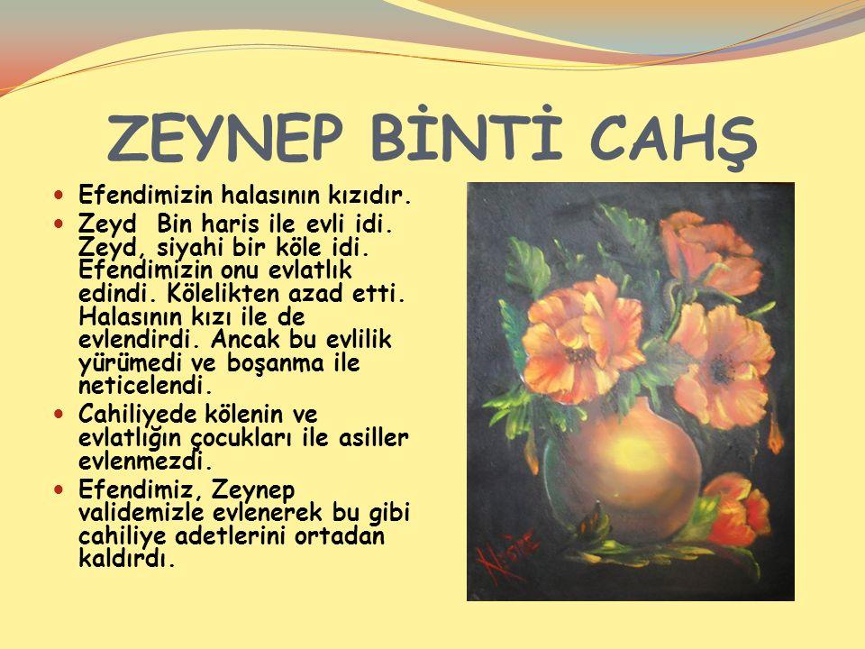ZEYNEP BİNTİ CAHŞ Efendimizin halasının kızıdır. Zeyd Bin haris ile evli idi.