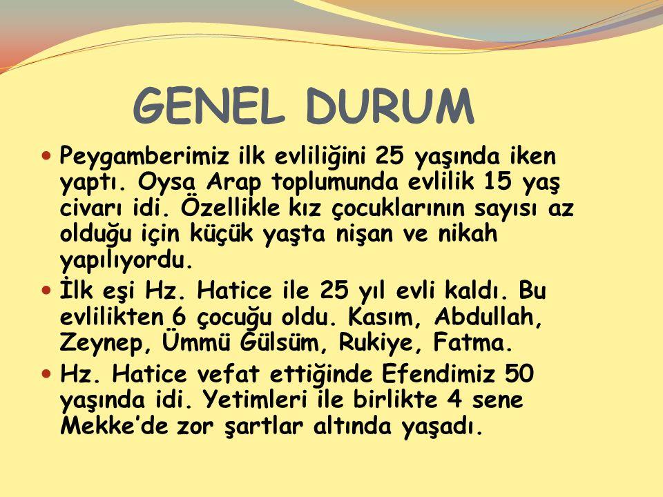 GENEL DURUM Peygamberimiz ilk evliliğini 25 yaşında iken yaptı.