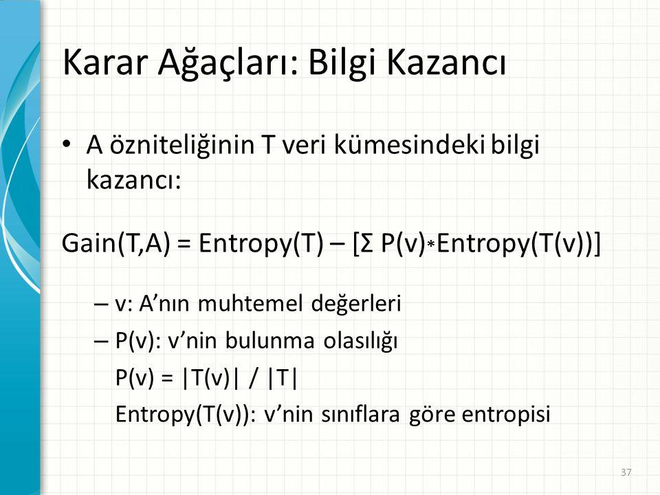 Karar Ağaçları: Bilgi Kazancı A özniteliğinin T veri kümesindeki bilgi kazancı: Gain(T,A) = Entropy(T) – [Σ P(v) * Entropy(T(v))] – v: A'nın muhtemel değerleri – P(v): v'nin bulunma olasılığı P(v) = |T(v)| / |T| Entropy(T(v)): v'nin sınıflara göre entropisi 37