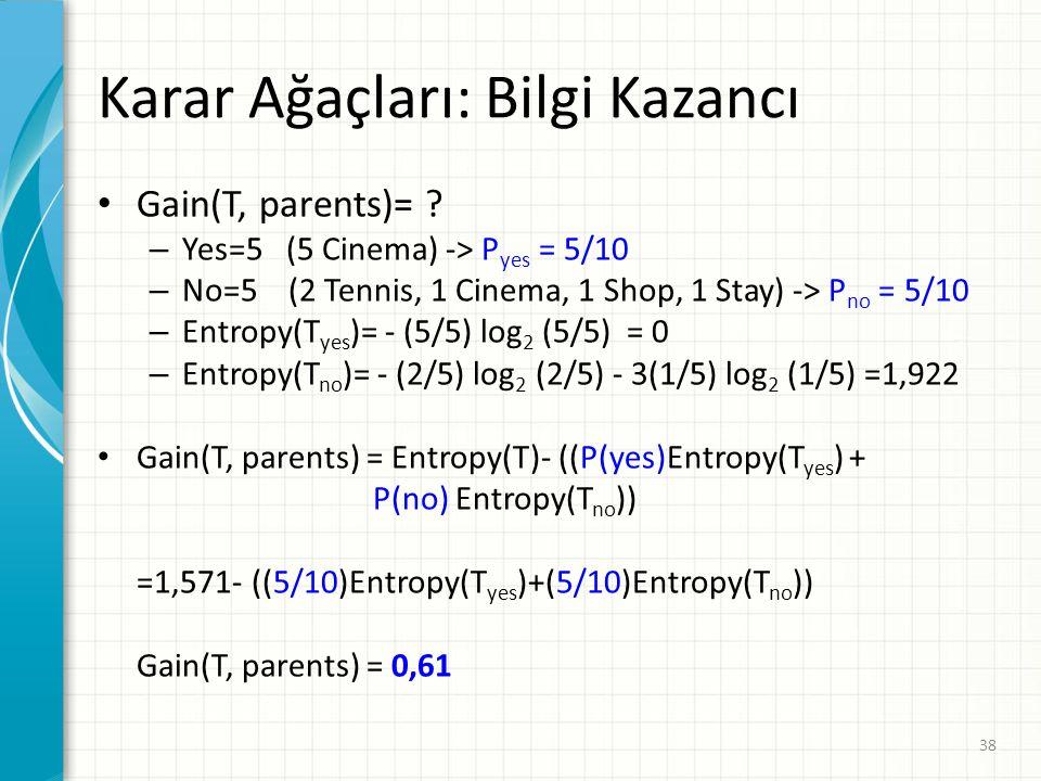 Karar Ağaçları: Bilgi Kazancı Gain(T, parents)= .