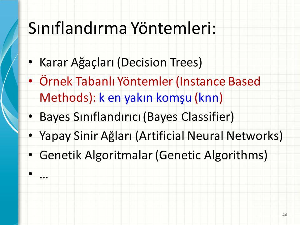 Sınıflandırma Yöntemleri: Karar Ağaçları (Decision Trees) Örnek Tabanlı Yöntemler (Instance Based Methods): k en yakın komşu (knn) Bayes Sınıflandırıcı (Bayes Classifier) Yapay Sinir Ağları (Artificial Neural Networks) Genetik Algoritmalar (Genetic Algorithms) … 44