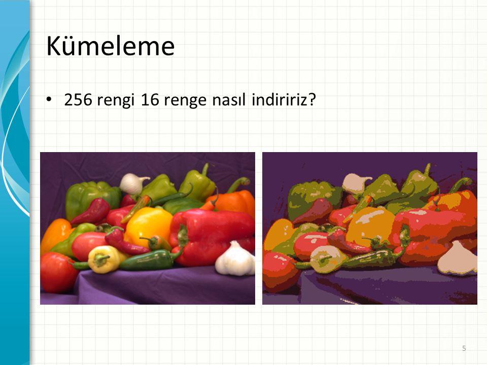 Kümeleme 256 rengi 16 renge nasıl indiririz? 5