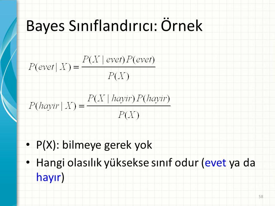 Bayes Sınıflandırıcı: Örnek P(X): bilmeye gerek yok Hangi olasılık yüksekse sınıf odur (evet ya da hayır) 58