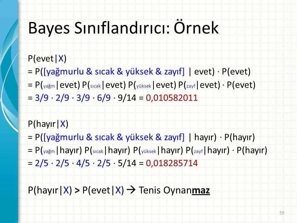 Bayes Sınıflandırıcı: Örnek P(evet|X) = P([yağmurlu & sıcak & yüksek & zayıf] | evet) · P(evet) = P( yağm |evet) P( sıcak |evet) P( yüksek |evet) P( zayf |evet) · P(evet) = 3/9 · 2/9 · 3/9 · 6/9 · 9/14 = 0,010582011 P(hayır|X) = P([yağmurlu & sıcak & yüksek & zayıf] | hayır) · P(hayır) = P( yağm |hayır) P( sıcak |hayır) P( yüksek |hayır) P( zayf |hayır) · P(hayır) = 2/5 · 2/5 · 4/5 · 2/5 · 5/14 = 0,018285714 P(hayır|X) > P(evet|X)  Tenis Oynanmaz 59