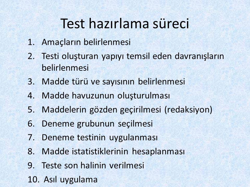 Test hazırlama süreci 1.Amaçların belirlenmesi 2.Testi oluşturan yapıyı temsil eden davranışların belirlenmesi 3.Madde türü ve sayısının belirlenmesi