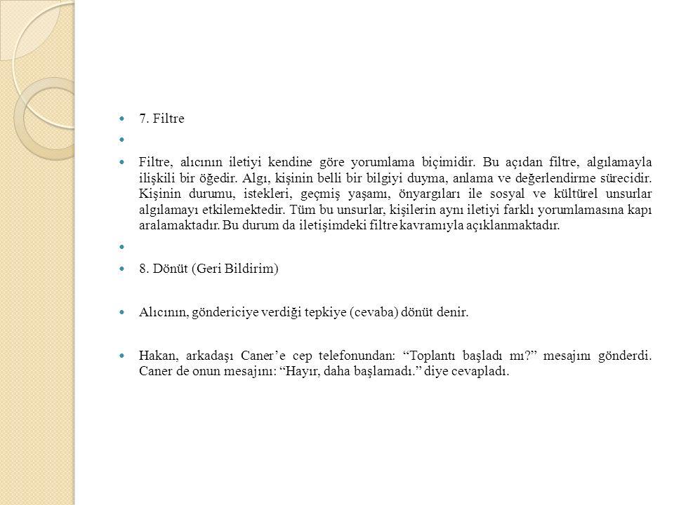 7. Filtre Filtre, alıcının iletiyi kendine göre yorumlama biçimidir.