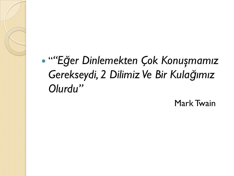 E ğ er Dinlemekten Çok Konuşmamız Gerekseydi, 2 Dilimiz Ve Bir Kula ğ ımız Olurdu Mark Twain