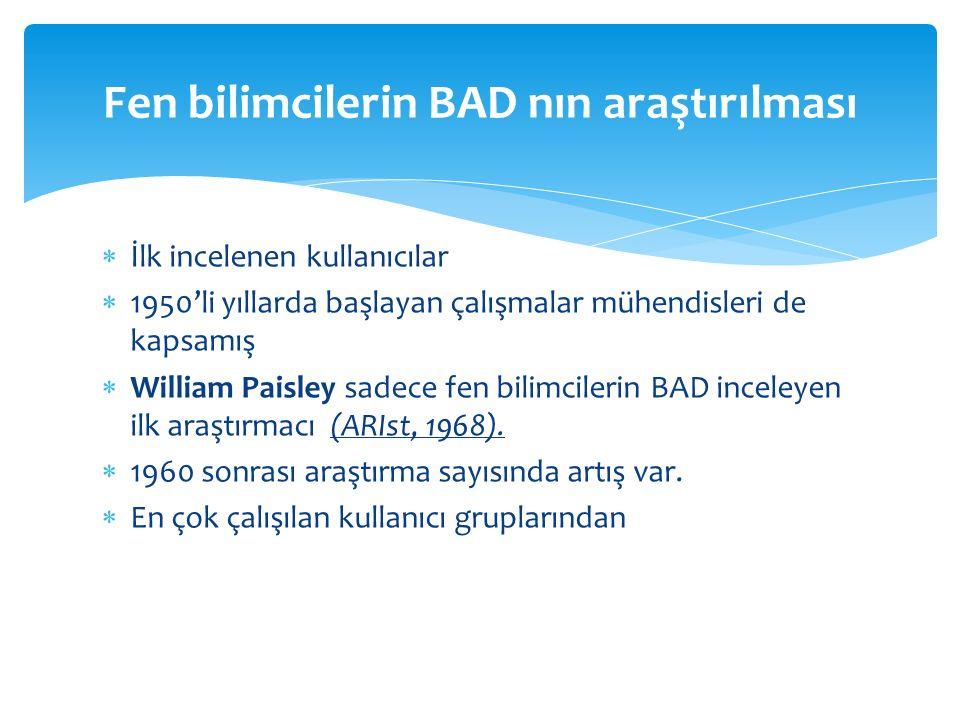  İlk incelenen kullanıcılar  1950'li yıllarda başlayan çalışmalar mühendisleri de kapsamış  William Paisley sadece fen bilimcilerin BAD inceleyen ilk araştırmacı (ARIst, 1968).