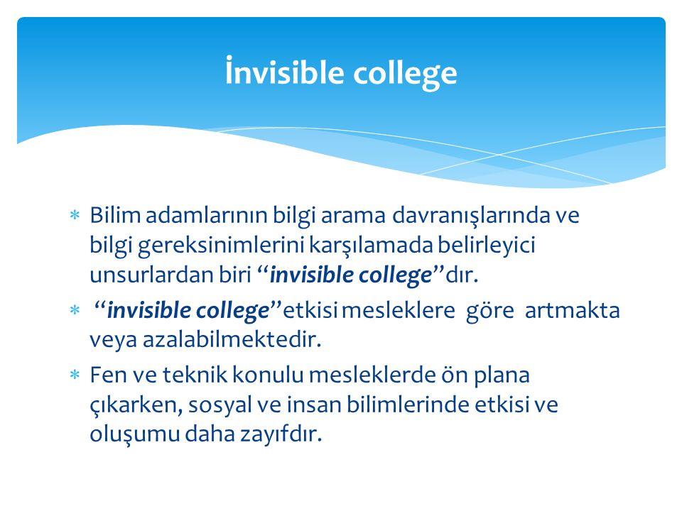 Bilim adamlarının bilgi arama davranışlarında ve bilgi gereksinimlerini karşılamada belirleyici unsurlardan biri invisible college dır.