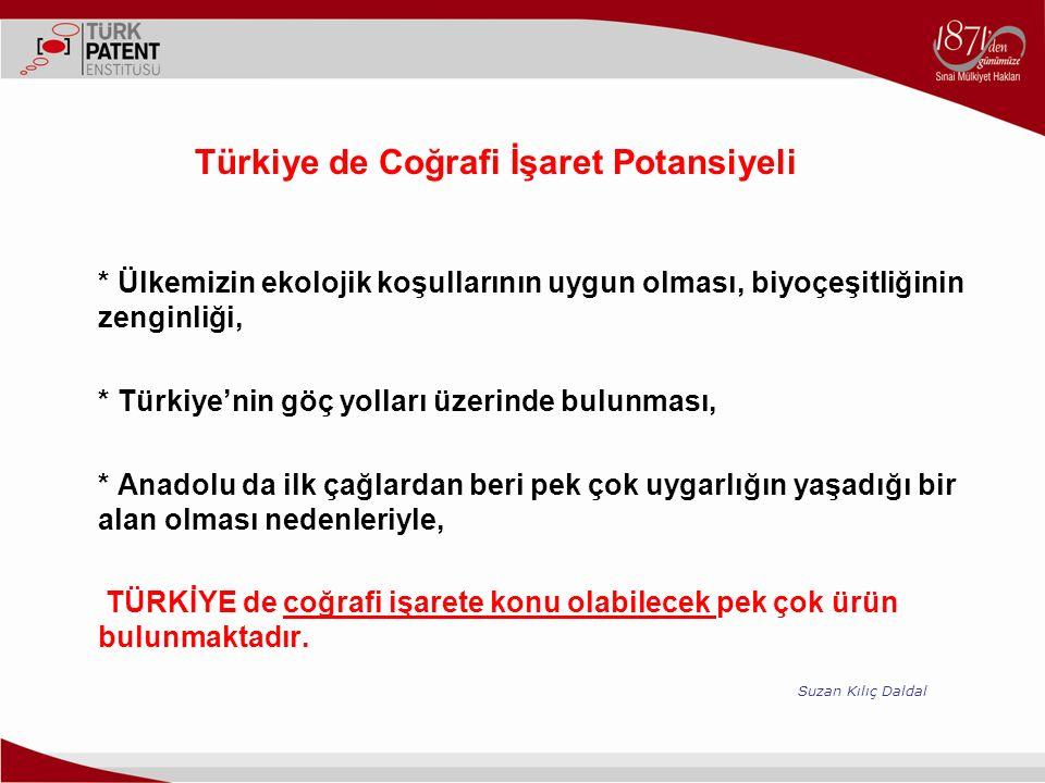 Türkiye de Coğrafi İşaret Potansiyeli * Ülkemizin ekolojik koşullarının uygun olması, biyoçeşitliğinin zenginliği, * Türkiye'nin göç yolları üzerinde bulunması, * Anadolu da ilk çağlardan beri pek çok uygarlığın yaşadığı bir alan olması nedenleriyle, TÜRKİYE de coğrafi işarete konu olabilecek pek çok ürün bulunmaktadır.