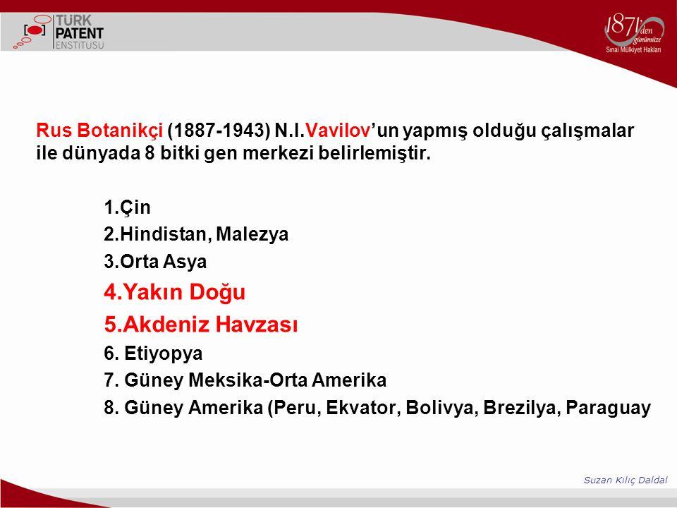 Rus Botanikçi (1887-1943) N.I.Vavilov'un yapmış olduğu çalışmalar ile dünyada 8 bitki gen merkezi belirlemiştir. 1.Çin 2.Hindistan, Malezya 3.Orta Asy