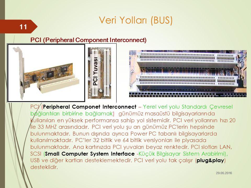 Veri Yolları (BUS) PCI (Peripheral Component Interconnect) PCI ( Peripheral Componet Interconnect – Yerel veri yolu Standardı Çevresel bağlantıları bi