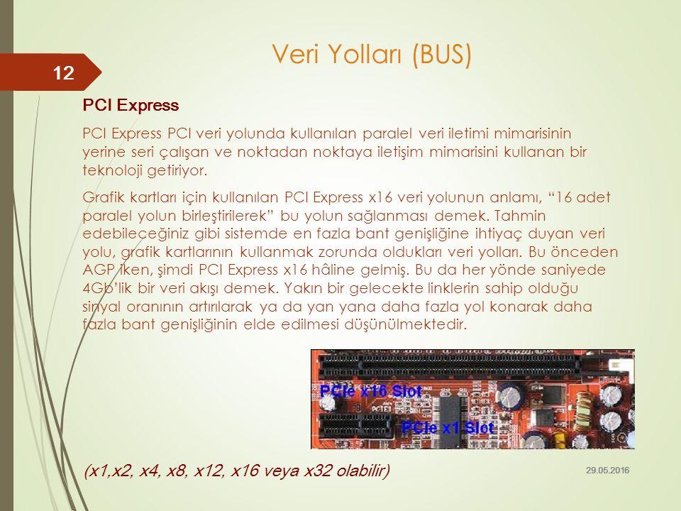 Veri Yolları (BUS) PCI Express PCI Express PCI veri yolunda kullanılan paralel veri iletimi mimarisinin yerine seri çalışan ve noktadan noktaya iletiş