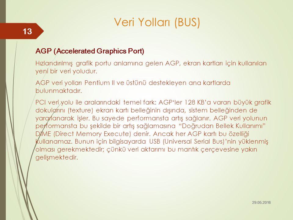 Veri Yolları (BUS) AGP (Accelerated Graphics Port) Hızlandırılmış grafik portu anlamına gelen AGP, ekran kartları için kullanılan yeni bir veri yoludu
