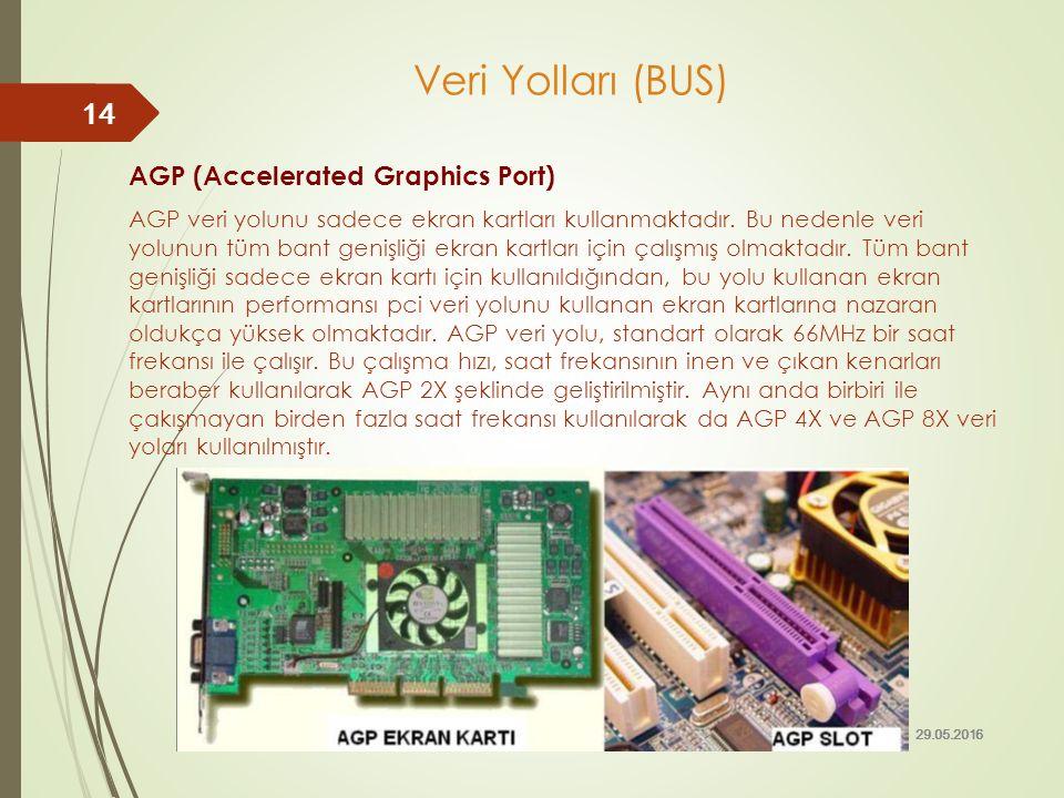 AGP (Accelerated Graphics Port) AGP veri yolunu sadece ekran kartları kullanmaktadır. Bu nedenle veri yolunun tüm bant genişliği ekran kartları için ç