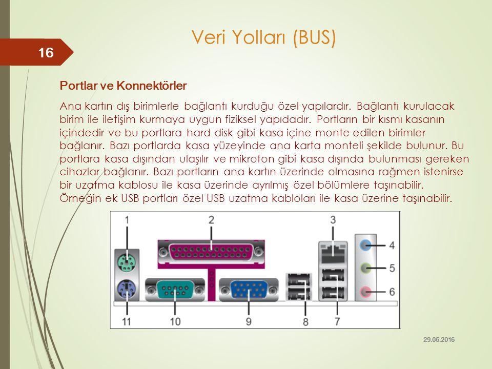 Portlar ve Konnektörler Ana kartın dış birimlerle bağlantı kurduğu özel yapılardır. Bağlantı kurulacak birim ile iletişim kurmaya uygun fiziksel yapıd