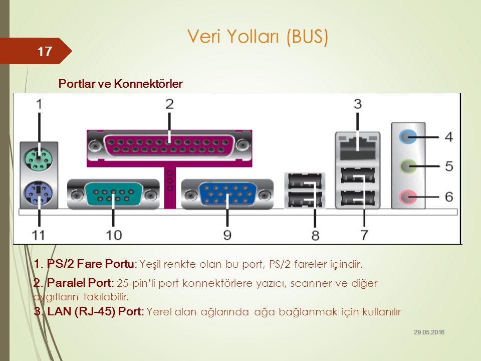 Portlar ve Konnektörler 1. PS/2 Fare Portu: Yeşil renkte olan bu port, PS/2 fareler içindir. 29.05.2016 17 Veri Yolları (BUS) 2. Paralel Port: 25-pin'