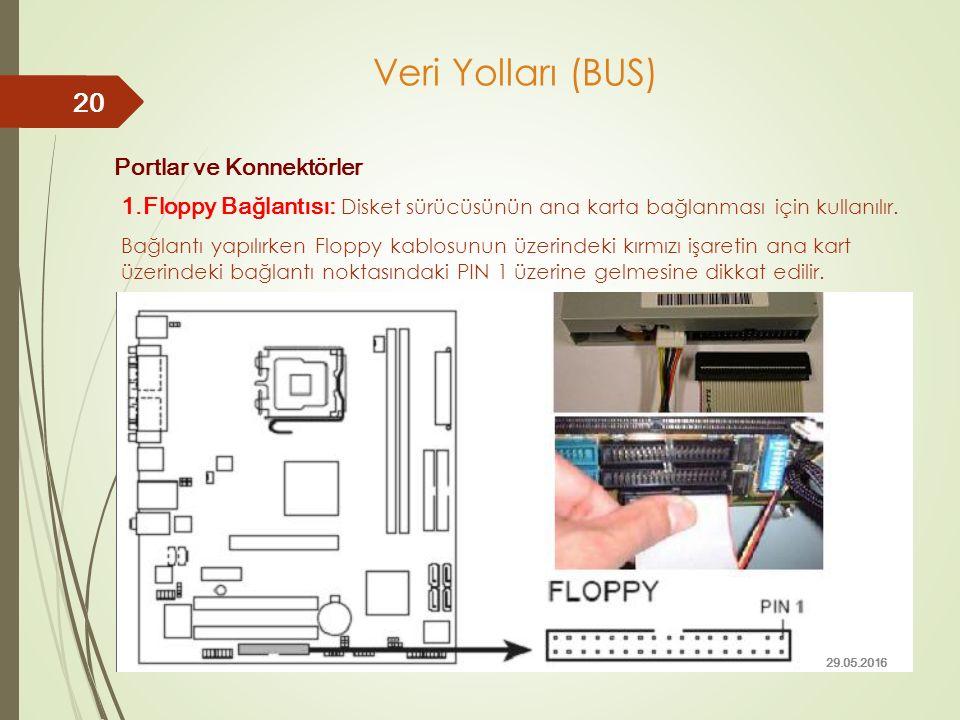 Portlar ve Konnektörler 1.Floppy Bağlantısı: Disket sürücüsünün ana karta bağlanması için kullanılır. Bağlantı yapılırken Floppy kablosunun üzerindeki