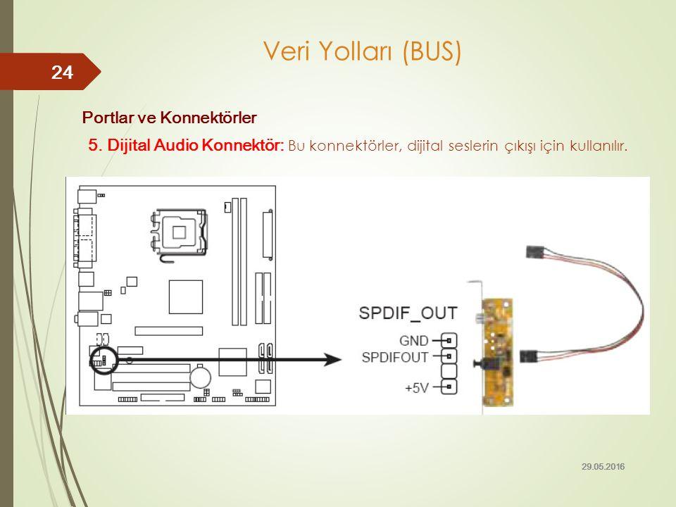 Portlar ve Konnektörler 5. Dijital Audio Konnektör: Bu konnektörler, dijital seslerin çıkışı için kullanılır. 29.05.2016 24 Veri Yolları (BUS)