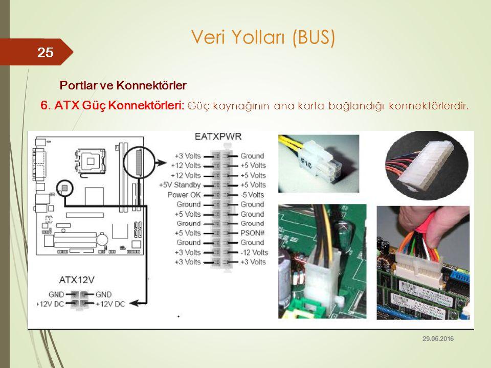 Portlar ve Konnektörler 6. ATX Güç Konnektörleri: Güç kaynağının ana karta bağlandığı konnektörlerdir. 29.05.2016 25 Veri Yolları (BUS)