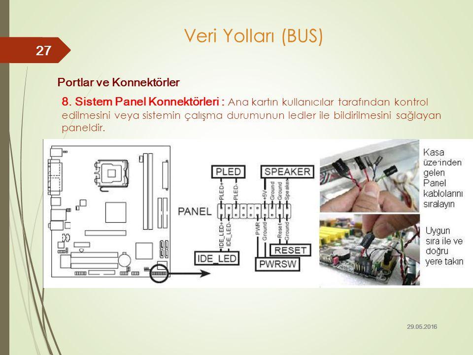 Portlar ve Konnektörler 8. Sistem Panel Konnektörleri : Ana kartın kullanıcılar tarafından kontrol edilmesini veya sistemin çalışma durumunun ledler i