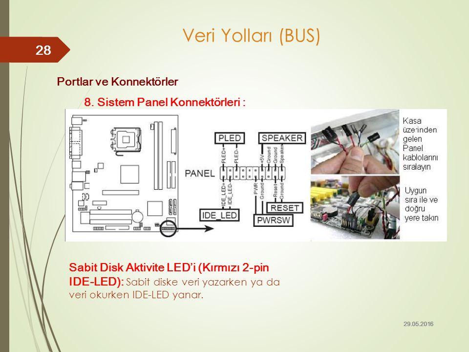 Portlar ve Konnektörler 8. Sistem Panel Konnektörleri : 29.05.2016 28 Veri Yolları (BUS) Sabit Disk Aktivite LED'i (Kırmızı 2-pin IDE-LED): Sabit disk