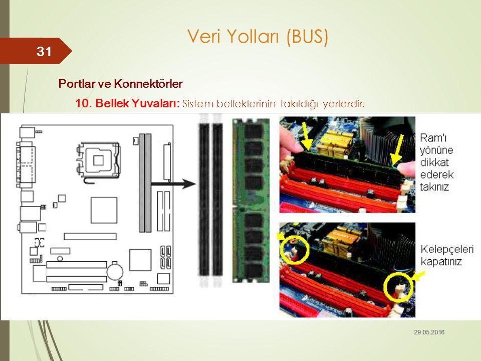Portlar ve Konnektörler 10. Bellek Yuvaları: Sistem belleklerinin takıldığı yerlerdir. 29.05.2016 31 Veri Yolları (BUS)