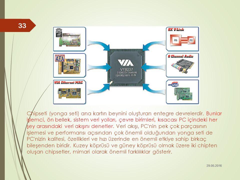 Chipseti (yonga seti) ana kartın beynini oluşturan entegre devrelerdir. Bunlar işlemci, ön bellek, sistem veri yolları, çevre birimleri, kısacası PC i